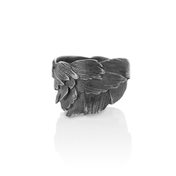 Oxidised Silver Swan Feathers Ring