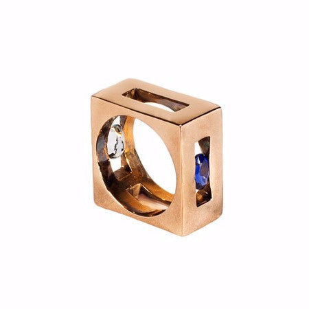 Elegant statement square ring by Italian jewellery designer Co.Ro. Jewels.