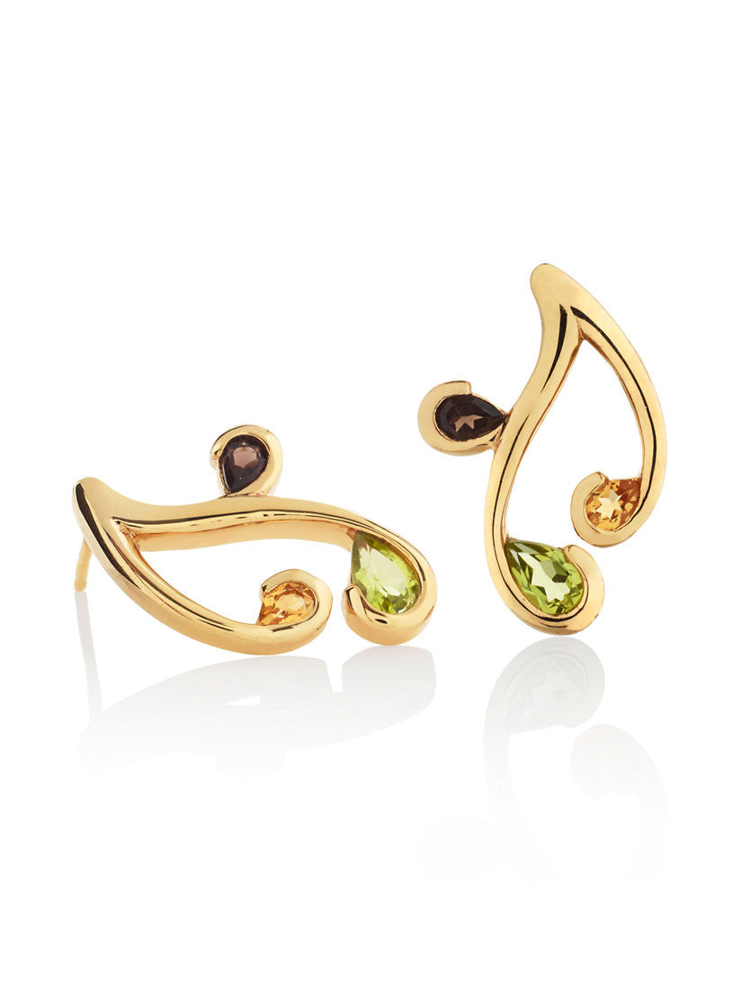 Tana Gold Three Gemstone Earrings (PCS) by Manja - Art Jewellery Store: Song of Jewellery
