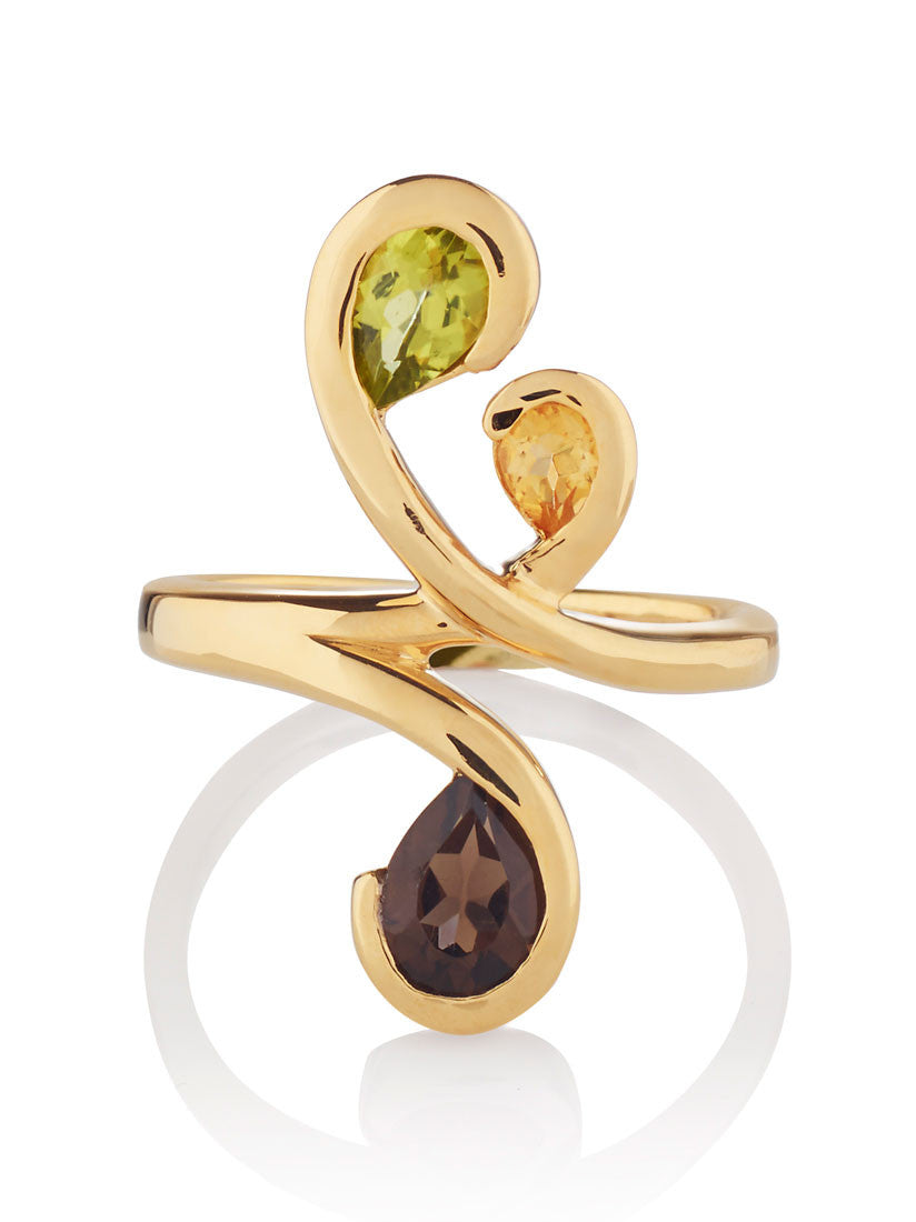 Tana Gold Three Gemstone Ring (PCS) by Manja - Art Jewellery Store: Song of Jewellery