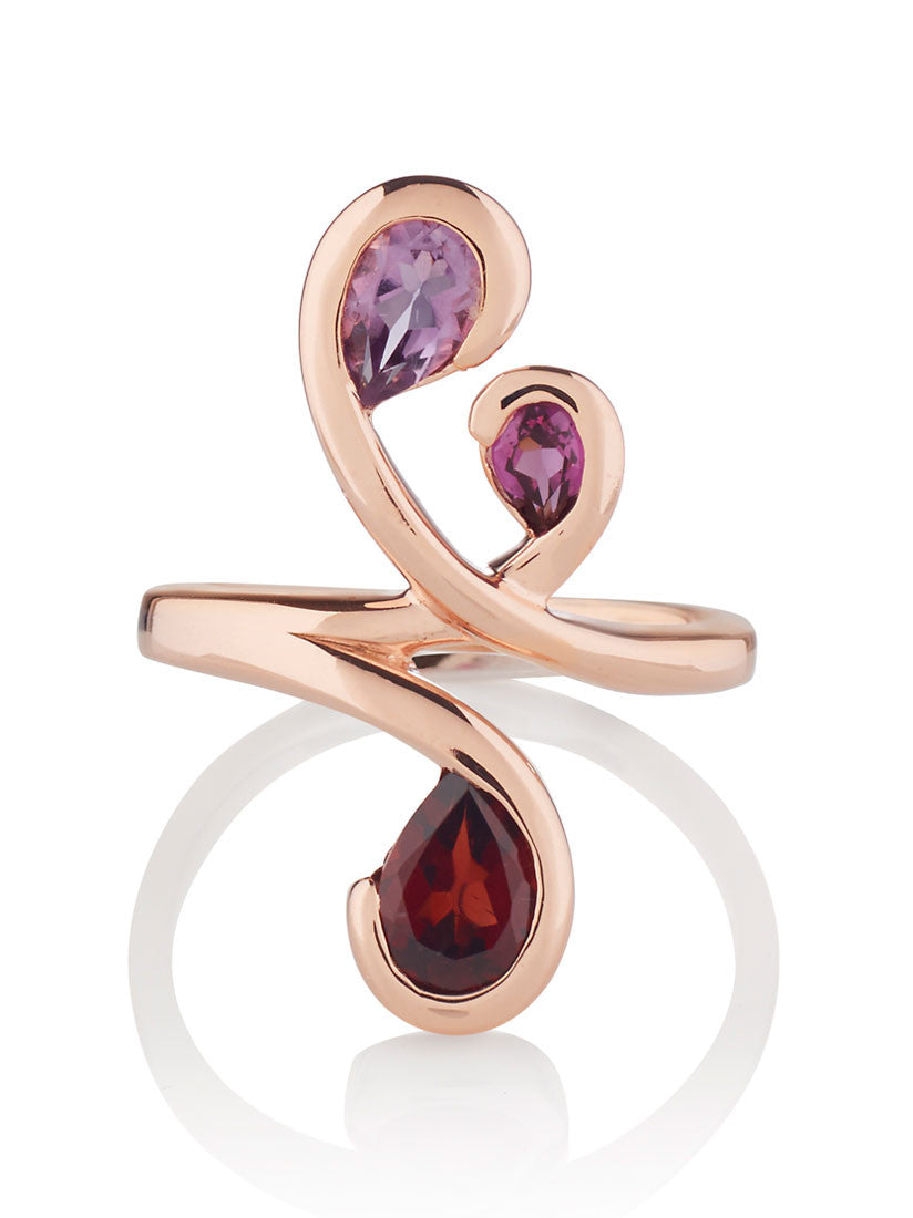 Tana Rose Gold Three Gemstone Ring (ARG) by Manja - Art Jewellery Store: Song of Jewellery