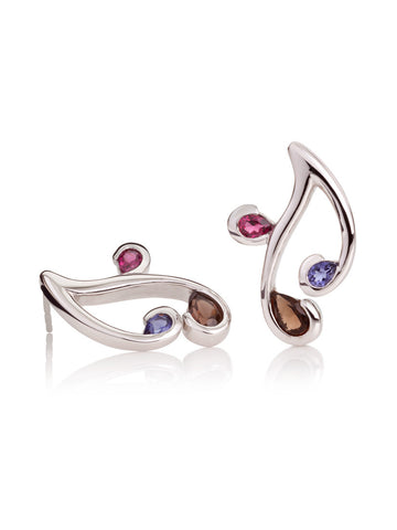 Tana Silver Three Gemstone Earrings (SIR)