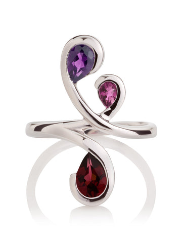 Tana Silver Three Gemstone Ring (ARG)