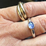Cabouchon Tanzanite 18ct Gold and Silver Ring