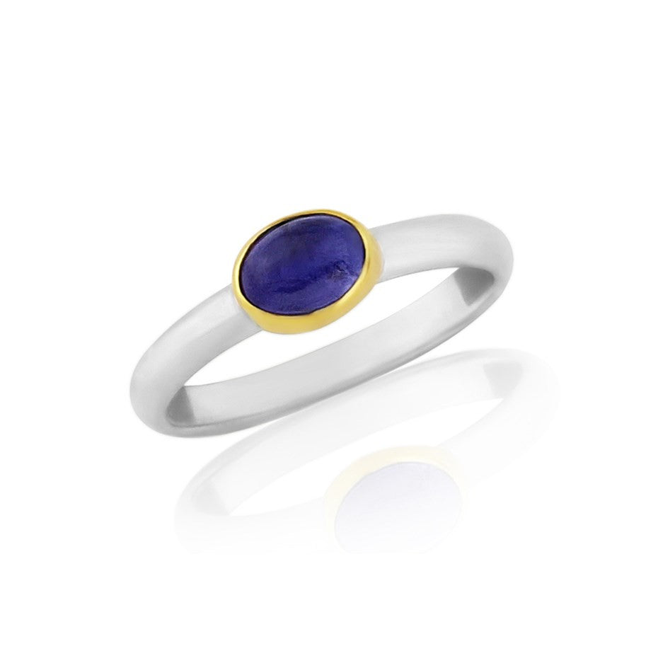 Cabouchon Tanzanite 18ct Gold and Silver Ring - by British Jewellery Argent of London