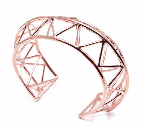 TRAVE Geometric Bangle (Pink Gold Plated)