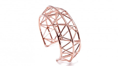 TRAVE Geometric Bangle (Pink Gold Plated) by Co.Ro. Jewels - Art Jewellery Store: Song of Jewellery