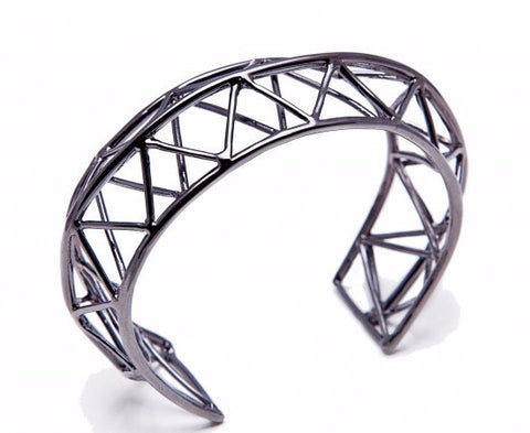 TRAVE Geometric Bangle (Ruthenium Plated)