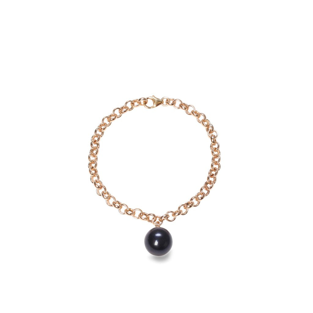 Trendy-and-chic- ORA- Pearls- sterling-silver-chain- bracelet- with -black -XXL- pearl- charm