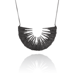 Large oxidised 925 silver necklace by Icelandic jeweller Aurum by Guðbjörg.