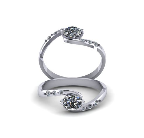 Twisted Engagement Ring with Diamonds