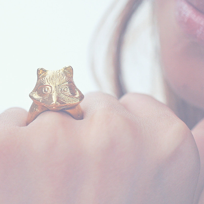 Golden Fox Ring Animal Ring Statement Ring