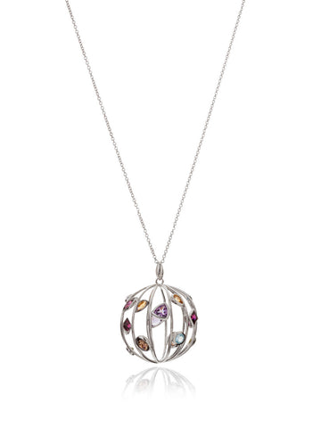 Votra Mixed Gem Orb Pendant Necklace
