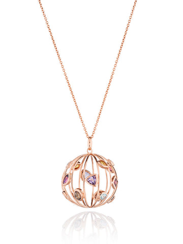 Votra Mixed Gems Orb Pendant Necklace (RGP)