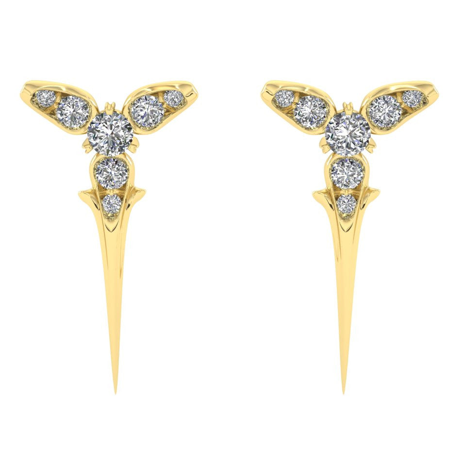Yellow Gold Trinity Studs with Diamonds | Luxurious Gifts For Her