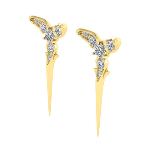 Yellow Gold Trinity Studs by Sebastian Pintea - Art Jewellery Store: Song of Jewellery