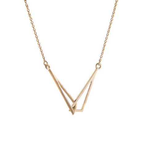 Yellow Gold Flare Linked Necklace by Miriam Wade - Art Jewellery Store: Song of Jewellery