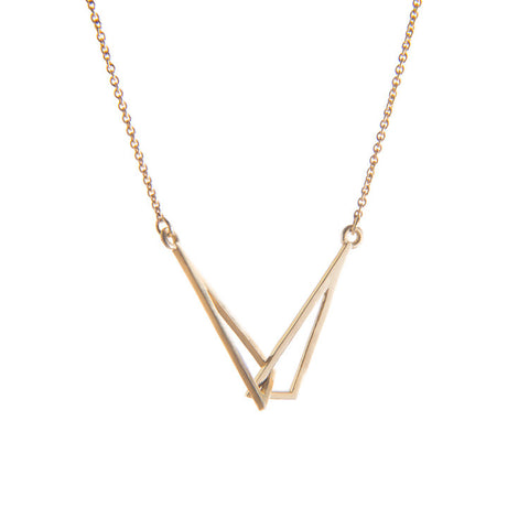 Yellow Gold Flare Linked Necklace