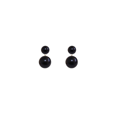 Double Black Pearl Earrings