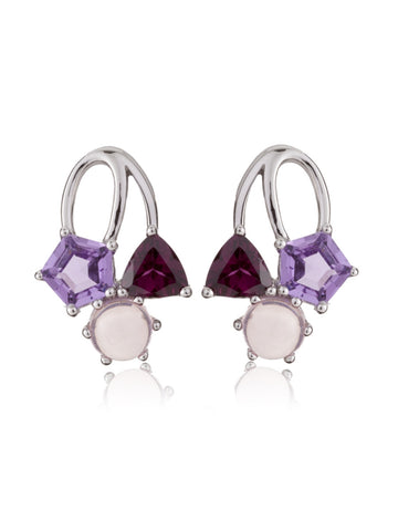Kintana Purple Gems Sterling Silver Earrings