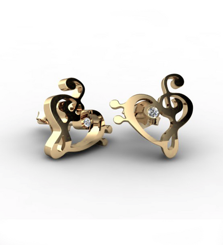 Melody Yellow Gold Ear Studs by Sebastian Pintea - Art Jewellery Store: Song of Jewellery