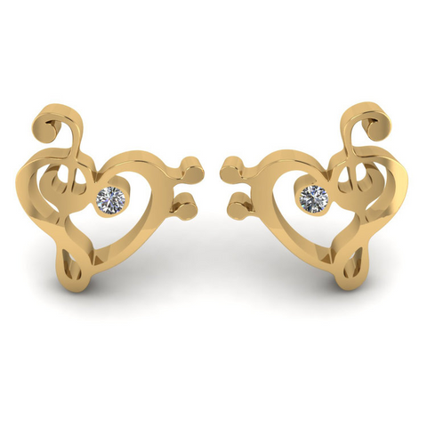 Melody Yellow Gold Ear Studs