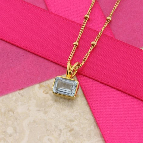 Rectangular Aquamarine Pendant Necklace by Argent London - Art Jewellery Store: Song of Jewellery