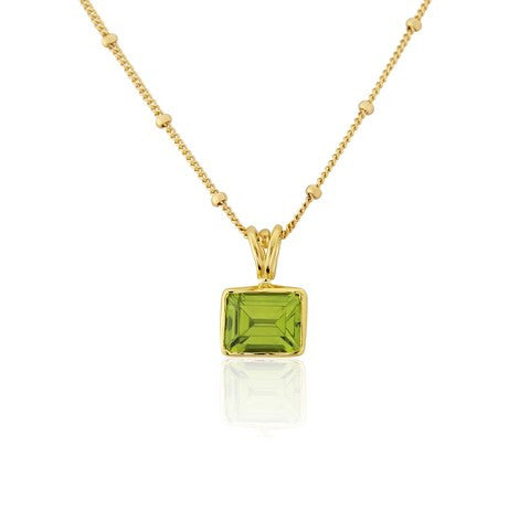Rectangular Peridot Pendant Necklace by Argent London - Art Jewellery Store: Song of Jewellery