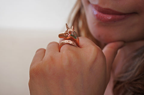 Rose Gold Unicorn Ring by Monvatoo - Art Jewellery Store: Song of Jewellery