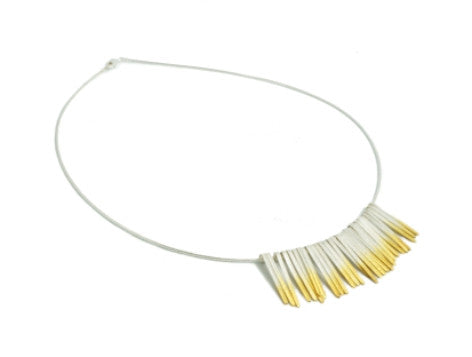 Shimmer Short Gold and Silver Strands Necklace by Kokkino - Art Jewellery Store: Song of Jewellery