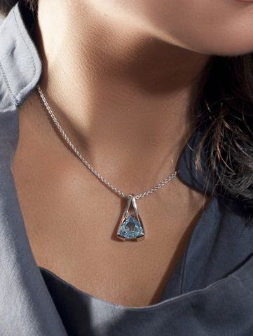 Valentine Blue Topaz Sterling Silver Pendant by Manja - Art Jewellery Store: Song of Jewellery