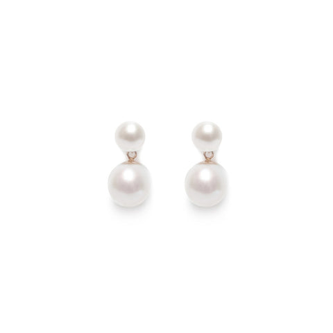 Double White Pearl Earrings