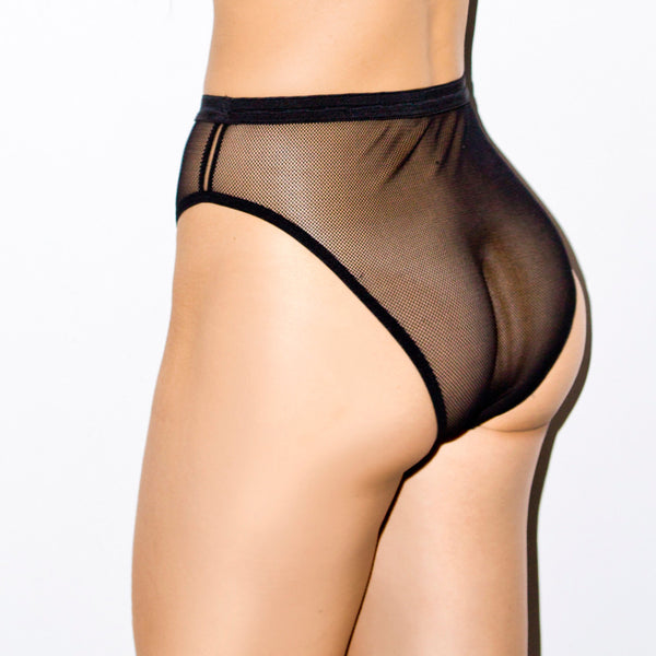 SAFE SEX REFLECTIVE HIGH WAIST BRIEFS BLACK