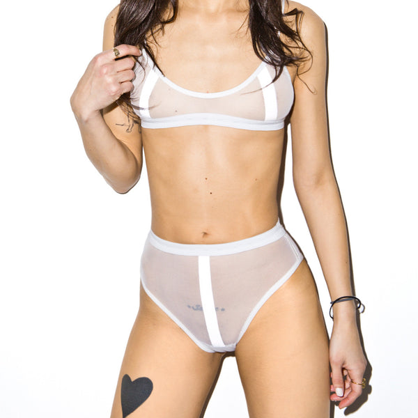 SAFE SEX REFLECTIVE HIGH WAIST BRIEFS WHITE
