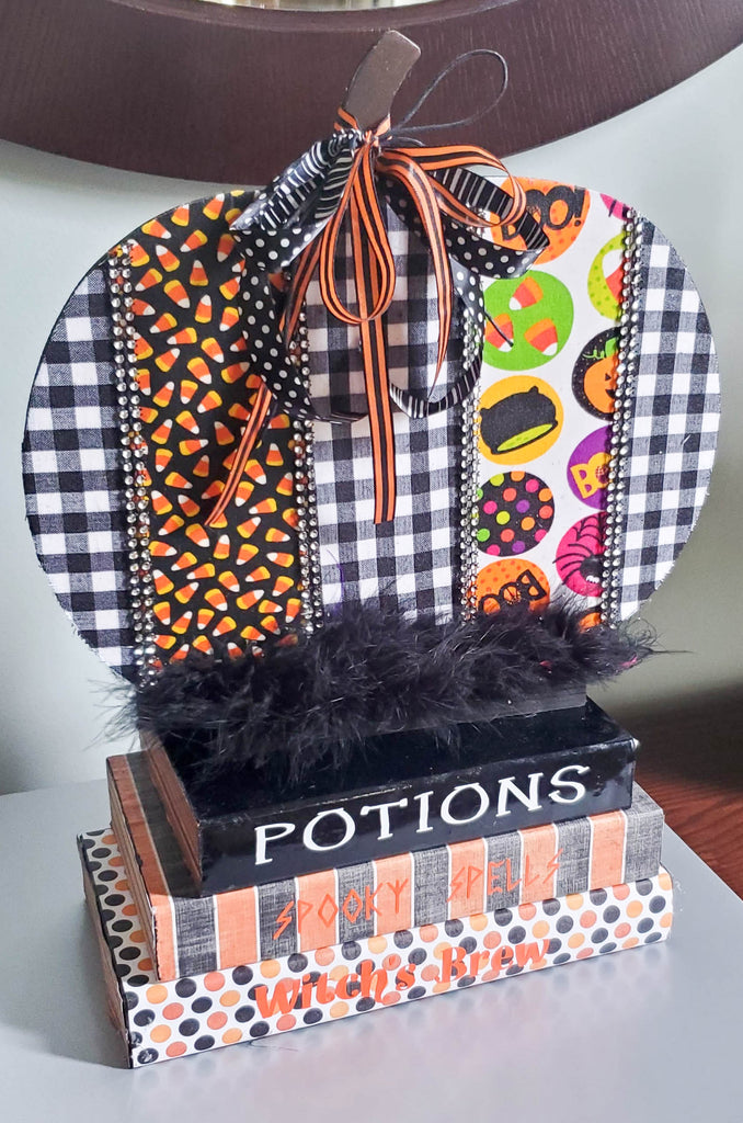 Potion Books w/Fabric Covered Pumpkin