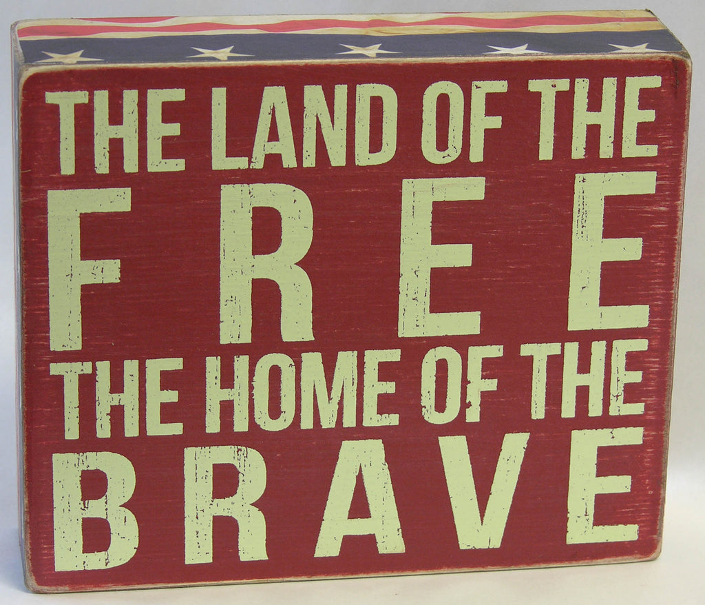 Land of the Free Box Sign