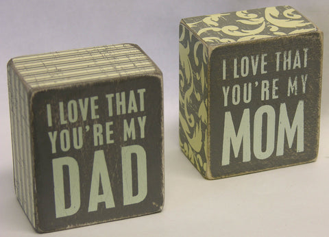 I Love Mom or Dad Box Sign