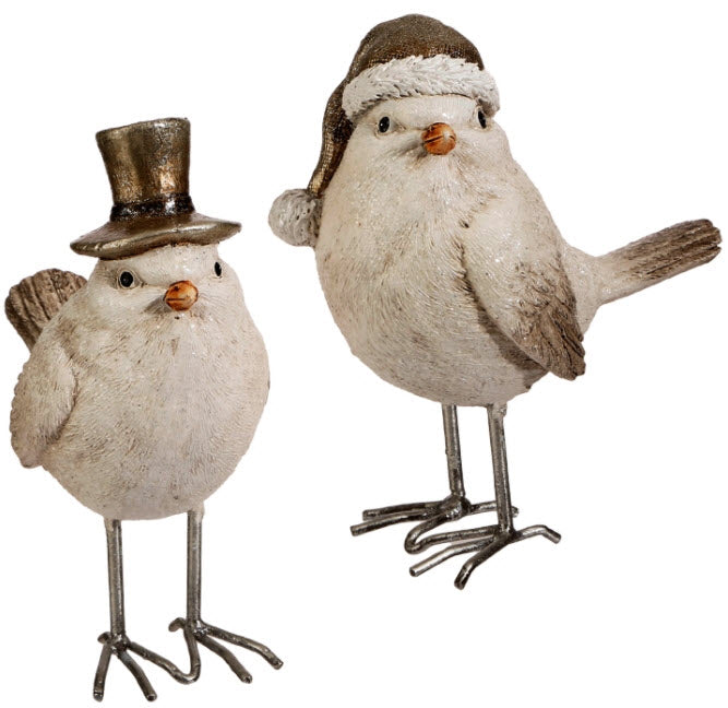 Top Hat and Scarf Whimsical Bird Set