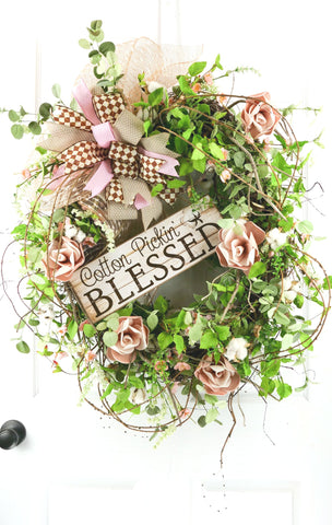 Cotton Pickin' Blessed Wreath