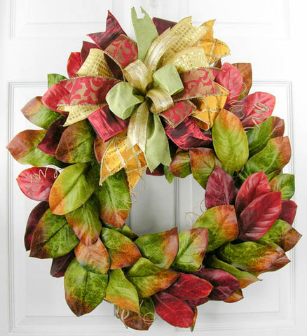 Fall Magnolia Wreath w/Terri Bow