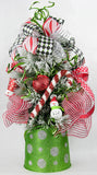 Peppermint Flocked Tabletop Christmas Tree