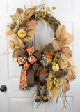Fall Fox Grapevine Wreath