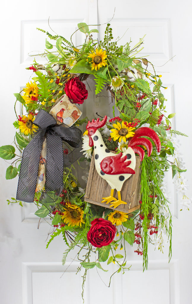 Rooster on a Box Wreath