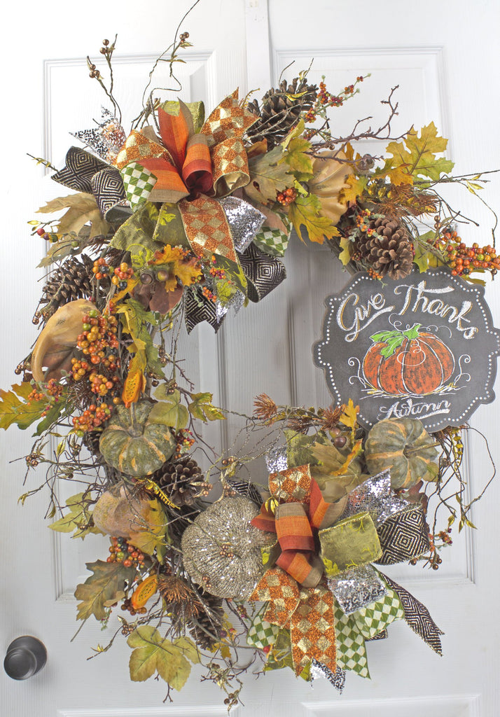 Give Thanks Autumn Wreath