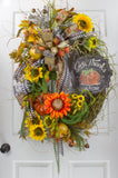 Give Thanks Autumn Sunflower Wreath