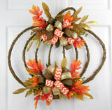 Double Bowed Chevron Grapevine Pumpkin