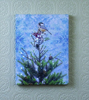 Lighted Chickadee Canvas w/Timer