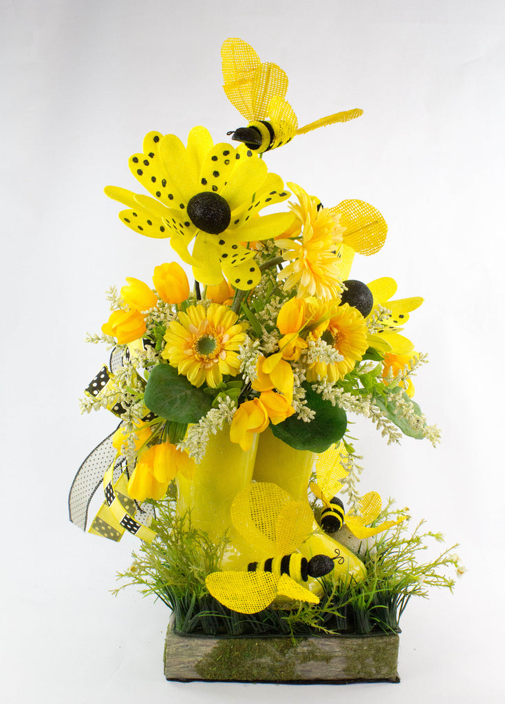 Yellow Rain Boots Arrangement