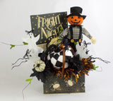 Halloween Scarecrow Arrangement, Halloween Decor, Harlequin Pumpkin