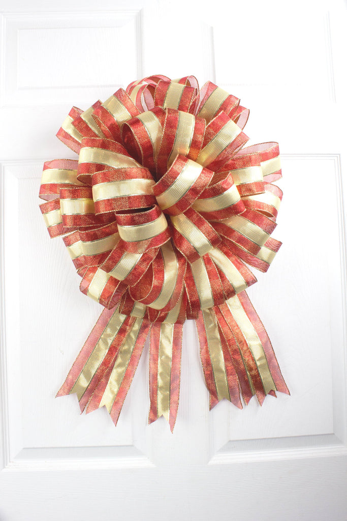 Red Gold Tree Bow Topper